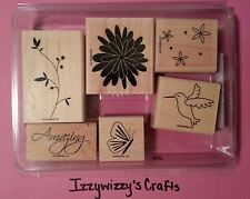 Stampin Up PRETTY AMAZING flowers butterfly hummingbird leaves EUC (14-13)