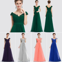 Ever-Pretty Beaded Formal Evening Dress Long V-neck Bridesmaid Prom Gown 08633