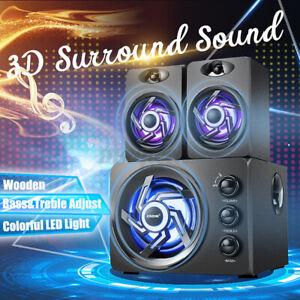 Multimedia 2.1 LED Heavy Bass Subwoofer Speaker For Phone Desktop DVD Computer