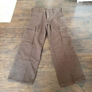 Vintage NOS Lined Heavy Wool Army Brown Hunting Pants Zipper Lace Up Waist 36x31