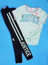 Justice Girl'S Logo Shirt & Leggings Size 10 Nwt