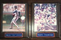 Lot of 2 Darryl Strawberry & Dwight Gooden 8x10 AUTOGRAPHED Mounted Wood Plaques