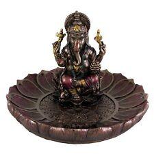5 Inch Ganesha Round Lotus Incense Holder Sculpture Statue Hindu Deity Hinduism