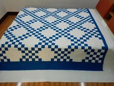 King size machine pieced and Irish chain Patchwork quilt / #Nj-25