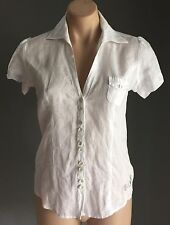 GUESS JEANS White Short Sleeve Fitted Shirt Size S (8/10) - Stylish Classic