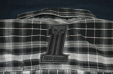 RARE Mens Harley Davidson Blue Bar Champion Button up Shirt Black White Plaid M