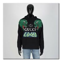 GUCCI 1400$ Hooded Sweatshirt With Tiger Print In Black Cotton