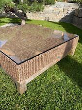 STERN Gartentisch, Beistelltisch Fontana Geflecht Zimt 85x85x30 Teakholz m Glas