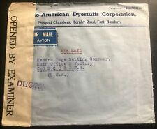 1943 Bombay India American Dyestuff Co Censored Cover To Concord NH USA