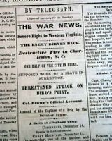 Rare DAVENPORT Iowa Civil War Battle of Camp Allegheny Mountain 1861 Newspaper