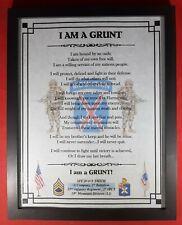 """Mc-Nice: Army Infantryman """"I Am A Grunt"""" All Units Framed Personalized"""