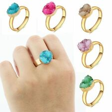 Raw Quartz Druzy Rock Women Natural Gold Plated Crystal Ring Adjustable Stone