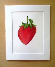 ORIGINAL ART - Strawberry fruit watercolour with mat board