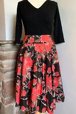 Laura Ashley Black Floral Silk Blend High Waisted Circle Midi Skirt,Occassion,16