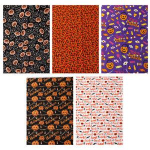 Halloween Cotton Fabric Pumpkin Cat Bat Spider Web Clothing Bag Sewing Craft DIY