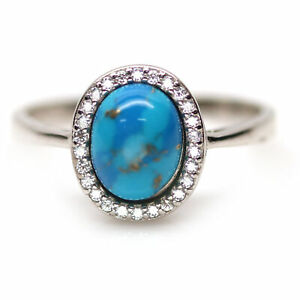 NATURAL 7 X 9 mm. BLUE TURQUOISE & WHITE CZ 925 STERLING SILVER RING SZ 9