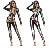 Jumpsuit Bodysuit Halloween Costume Skeleton Cosplay Party Outfit Adult Women