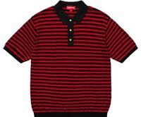 Supreme Striped Knit Polo Red Black Size Medium SS18 Collared Shirt Box Logo