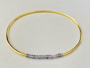 18K Gold on 925 Sterling Silver Iolite Gemstone Bangle Bracelet Natural Stone