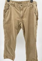 Carhartt Mens Twill Carpenter Work Pants Size 36x30 Khaki Relaxed B324 Pre-Owned