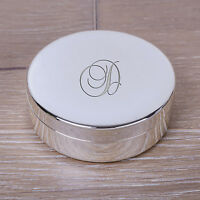 Personalised Small Any Initial Round Silver Plated Jewellery Trinket Box Gift