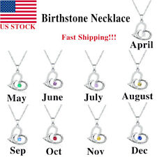 Woman Birthstone Necklace Love Personalize Pendant Mom Christmas Birthday Gifts