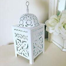 Design decorativo fiori in metallo & LANTERNA Tè Leggero Candela Holder-Bianco 27cm