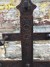 Victorian English Heavy Hand Carved Hall Tree Umbrella Stand Coat Rack Nice