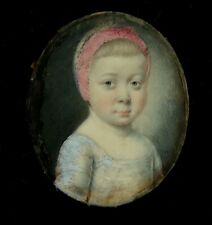 MINIATURE PORTRAIT - Georgian child in a deep hand carved wooden frame