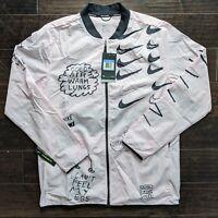 Nike Nathan Bell Printed Running Jacket AJ7759-663 Pink Black Men's Medium M NWT