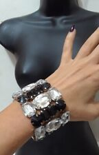 Layer Wide Bracelet Cocktail Statement Black Clear Lucite Acrylic Stretch Multi