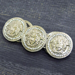GIANNI VERSACE Silver Plated Rhinestones Medusa Bracelet Bangle #276f Rise-on