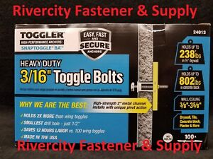 "(100) Toggler Snap Toggle BA 3/16"" Heavy Duty Strap Toggle  Bolts Anchor 24013"