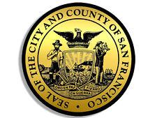 4x4 inch Round GOLD City County of San Francisco Seal Sticker -logo california