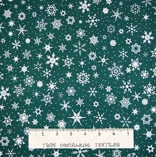 White Christmas Fabric - Snowflake Toss on Jewel Green - RJR Cotton YARD