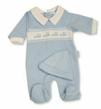 BNWT Baby Boys Premature prem preemie tiny  sleepsuit & hat Baby grow clothes