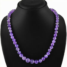 BEST 300.00 CTS NATURAL RICH PURPLE AMETHYST ROUND SHAPED BEADS NECKLACE STRAND