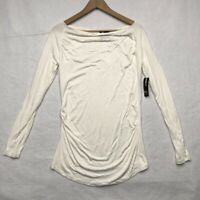 New Directions Womens Casual Top Ivory Raglan Sleeve Drape Neck Stretch S New