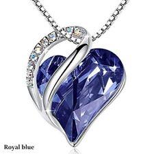 Fashion Silver Love Heart blue Zircon Pendant Necklace Valentine's Day Gifts