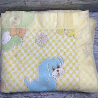 "Vintage Cannon Mills Yellow Love Animals Nylon Binding Baby Blanket 48"" x 35"""