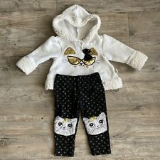 duck duck goose Baby Girl Puff Hoodie + Kitty Leggings (3-6 Months)