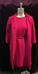 Vintage 1960s Fuchsia 2pc Suit: Coat and Dress by Rona Jackie O' Style