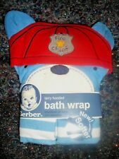 Gerber Terry Hooded Bath Wrap Towel-Fire Chief- New