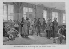 DETAINED IMMIGRANTS ON ELLIS ISLAND BUILDING GUARDS LUGGAGE KIDS NEW YORK HARBOR