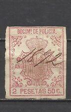 208-SELLO FISCAL COLONIA ESPAÑA 1872 CANCELADO PLUMA POLICIA  2,50 PESETAS.