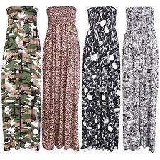 New Womens Plus Size Boob Tube Printed Strech Sheering Summer Maxi Dress 8-26