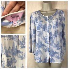 Phase Eight Ladies Casual White/blue Print Blouse Size 12 UK