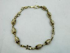 "Egyptian Sterling Silver Ankh Scarab Bracelet 8.75"" Long # 217"