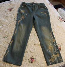 Newport News Jeanology Women 12 fits like 8 Short Embellished Sequins Beads Fade