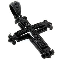 "Black Iced Out Cz Micro Paved Small Cross Pendant Necklace 30"" Inch Chain C008"